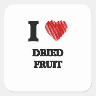 Amo los frutos secos pegatina cuadrada