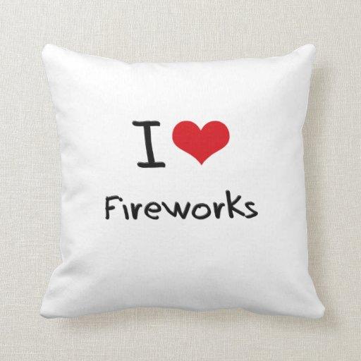 Amo los fuegos artificiales almohada