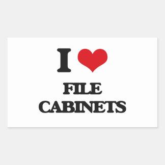 Amo los gabinetes de fichero pegatina rectangular