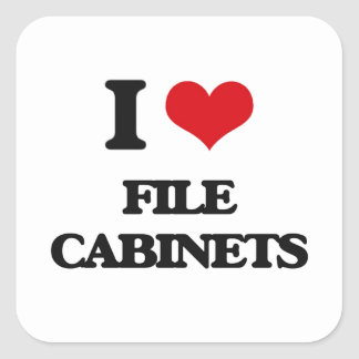 Amo los gabinetes de fichero pegatina cuadrada