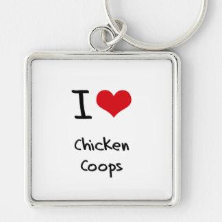 Amo los gallineros de pollo llavero personalizado
