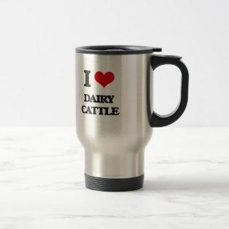 Amo los ganados lecheros taza de viaje de acero inoxidable