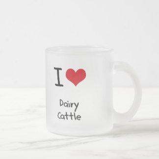 Amo los ganados lecheros taza cristal mate