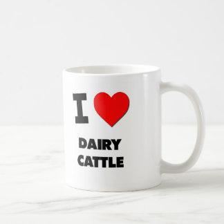 Amo los ganados lecheros taza básica blanca