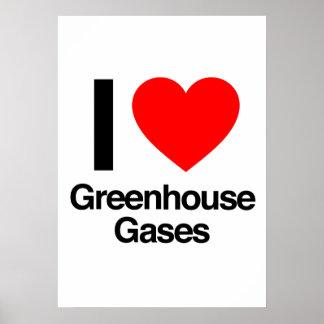 amo los gases de efecto invernadero poster