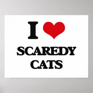 Amo los gatos de Scaredy Póster