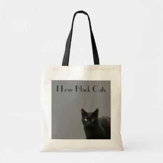 Amo los gatos negros - negro sofisticado en gris bolsa lienzo