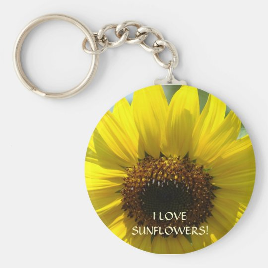 ¡AMO LOS GIRASOLES! Flor de Sun de los regalos del Llavero Redondo Tipo Pin