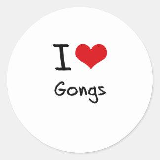 Amo los gongos pegatinas redondas