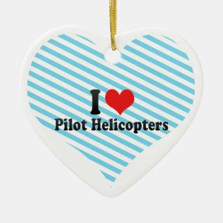 Amo los helicópteros experimentales adorno de cerámica en forma de corazón
