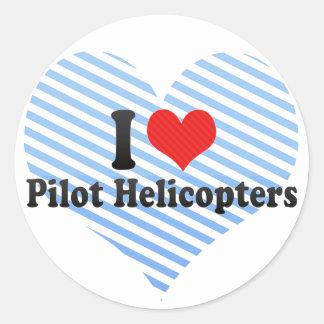 Amo los helicópteros experimentales pegatina redonda