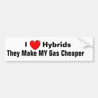 AMO los híbridos I ellos hago MI gas más barato Etiqueta De Parachoque
