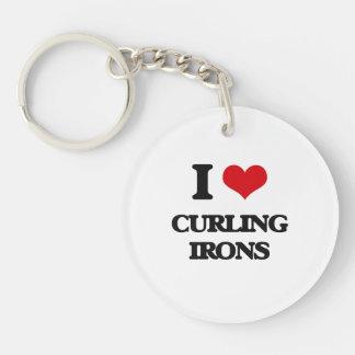 Amo los hierros que se encrespan llavero redondo acrílico a una cara