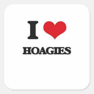Amo los Hoagies Calcomanías Cuadradases