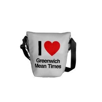amo los Horario de Greenwich de Greenwich Bolsas De Mensajería