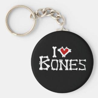Amo los huesos llavero redondo tipo pin