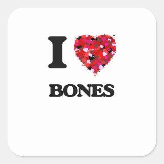 Amo los huesos pegatina cuadrada