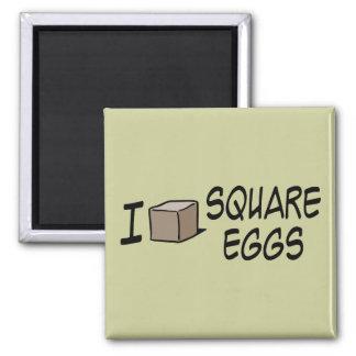Amo los huevos cuadrados imán cuadrado