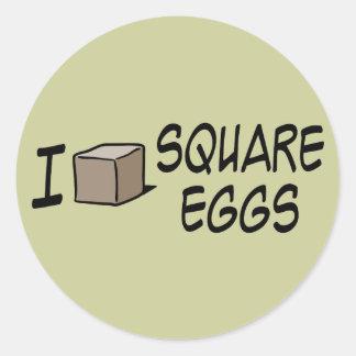 Amo los huevos cuadrados pegatina redonda