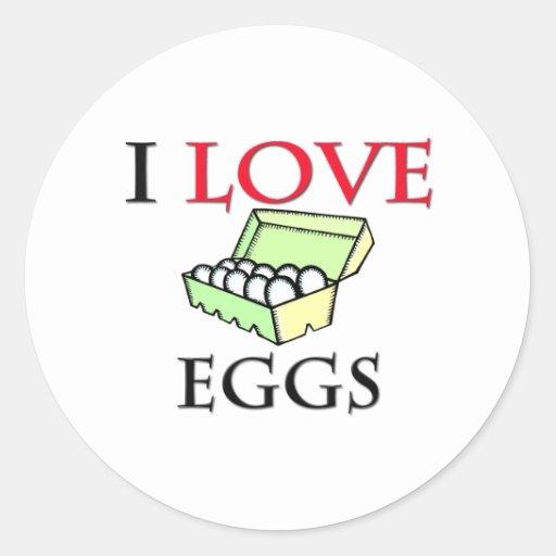 Amo los huevos pegatina redonda