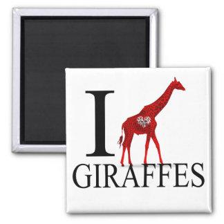 Amo los imanes de las jirafas imán cuadrado
