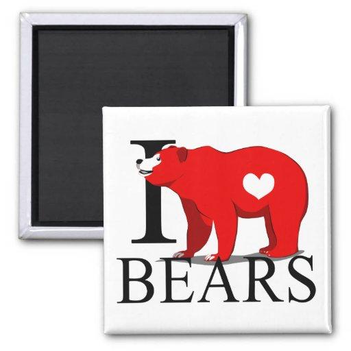 Amo los imanes de los osos imán cuadrado