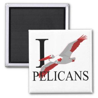 Amo los imanes de los pelícanos imán cuadrado