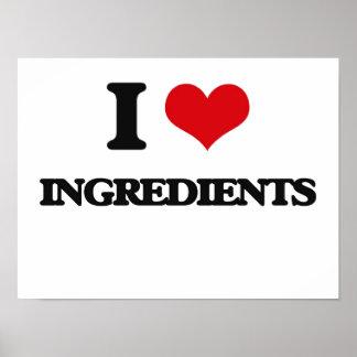 Amo los ingredientes impresiones