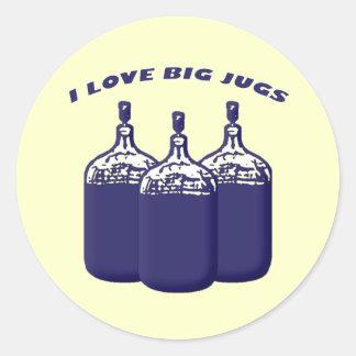 Amo los jarros grandes pegatina redonda