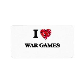 Amo los juegos de guerra etiqueta de dirección