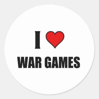 Amo los juegos de guerra pegatina redonda