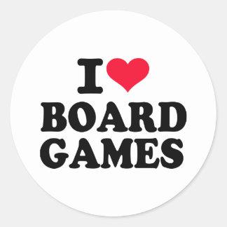 Amo los juegos de mesa pegatina redonda