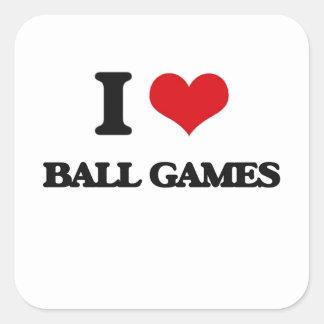 Amo los juegos de pelota pegatina cuadrada