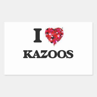 Amo los Kazoos Pegatina Rectangular