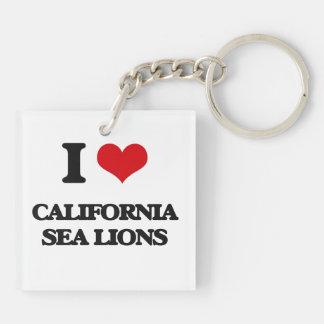 Amo los leones marinos de California Llavero Cuadrado Acrílico A Doble Cara