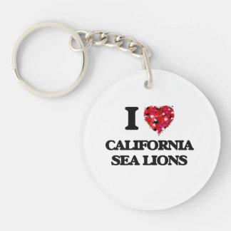 Amo los leones marinos de California Llavero Redondo Acrílico A Una Cara