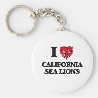 Amo los leones marinos de California Llavero Redondo Tipo Pin