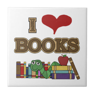 Amo los libros azulejo cuadrado pequeño