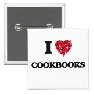 Amo los libros de cocina pin cuadrada 5 cm
