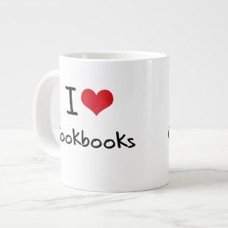 Amo los libros de cocina taza extra grande