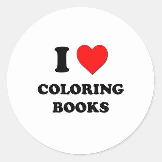 Amo los libros de colorear etiqueta redonda