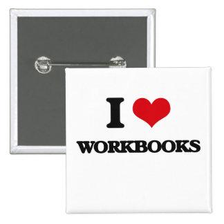Amo los libros de trabajo pin cuadrada 5 cm