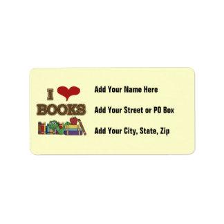 Amo los libros etiqueta de dirección