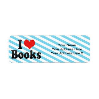 Amo los libros etiqueta de remitente