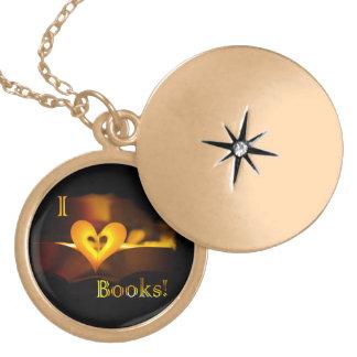 """Amo los libros - I """"corazón"""" reserva (luz de una Medallones"""