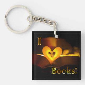"""Amo los libros - I """"corazón"""" reserva (luz de una Llavero Cuadrado Acrílico A Una Cara"""