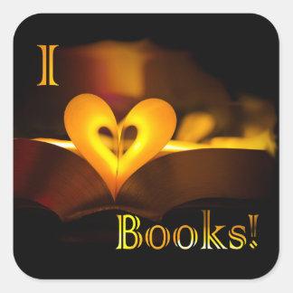 """Amo los libros - I """"corazón"""" reserva (luz de una Calcomanias Cuadradas"""