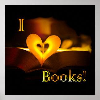 """Amo los libros - I """"corazón"""" reserva (luz de una Póster"""