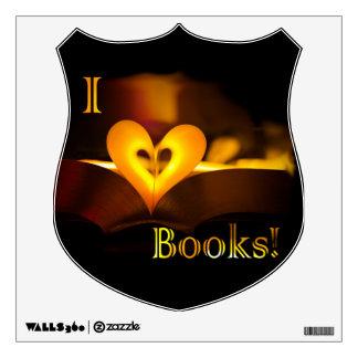 """Amo los libros - I """"corazón"""" reserva (luz de una Vinilo Decorativo"""