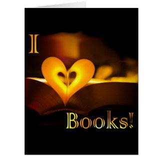 """Amo los libros - libros del """"corazón"""" de I (la luz Tarjeta De Felicitación Grande"""